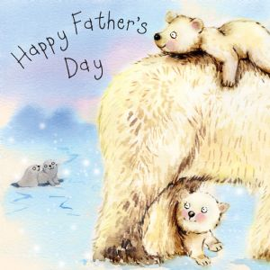 FIZ38 - Happy Father's Day Card Polar Bears